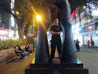 Andy Cunningham at the hands statue, Nathan Road (near the eastern entrance to Kowloon Park).