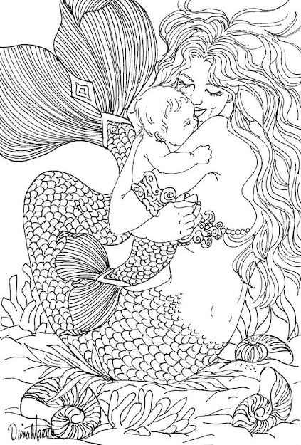 Free Coloring Page Coloringadultmermaidandchilddrawingby