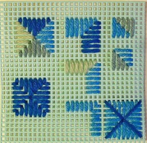 4-way bargello stitch sampler #3, mitered stitches