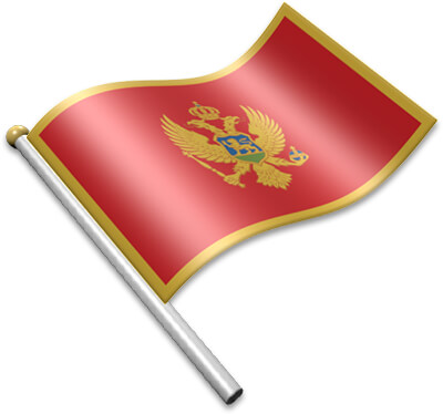 The Montenegrin flag on a flagpole clipart image