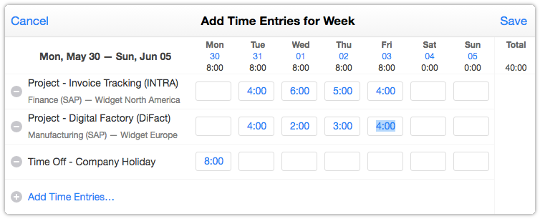 Add Time Entries for Week form