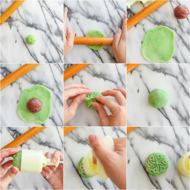 photo collage showing step-by-step how to make the mooncakes