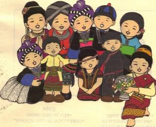 Hmong Children or Family Outside their Traditional Bamboo & Grass ...