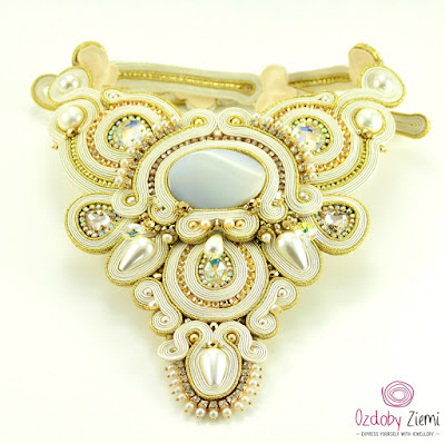 Ivory Soutache Necklace by Ozdoby Ziemi