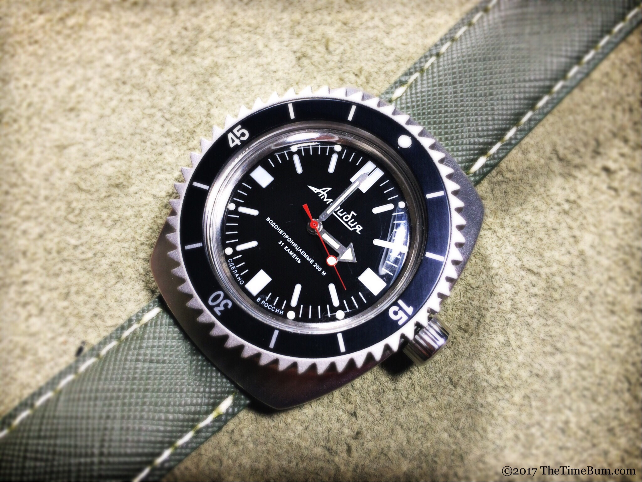 Vostok Amphibia 090 with One Second Closer Shark bezel