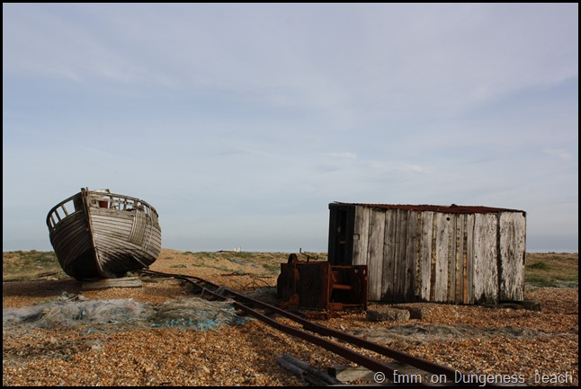 Ship and hut on Dungeness beach