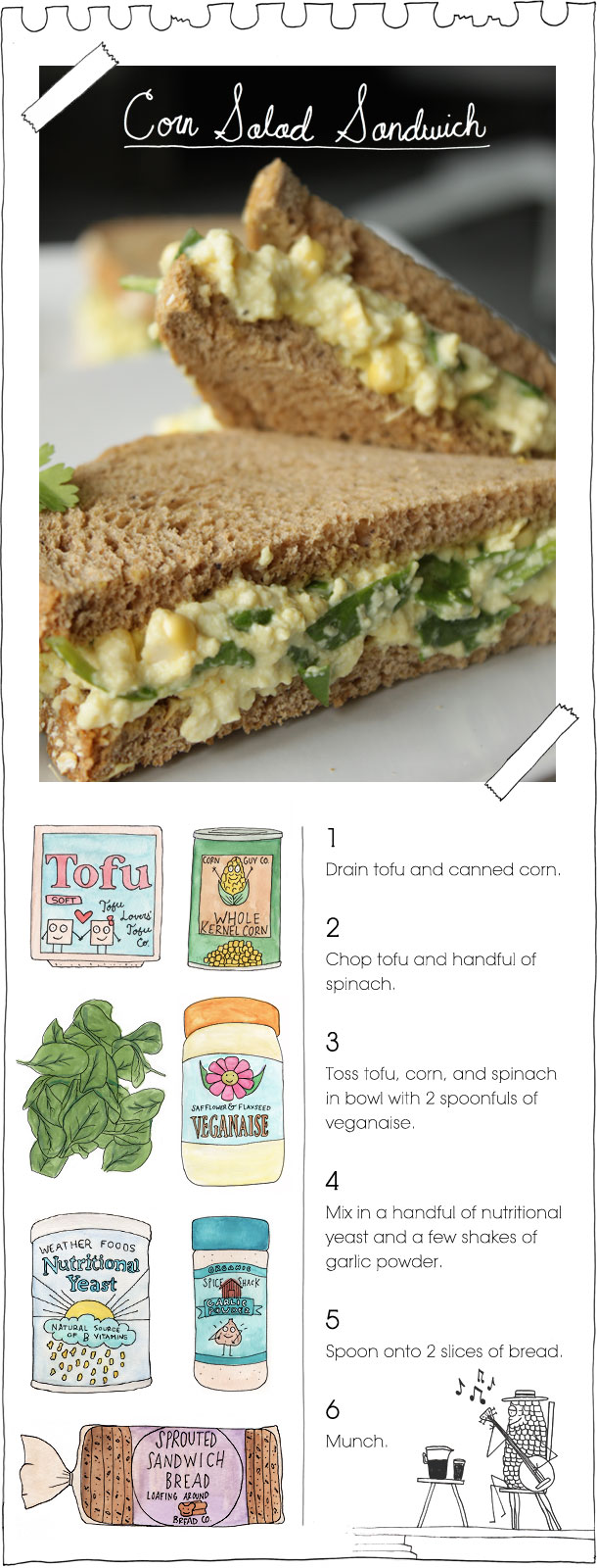 The Vegan Stoner's Corn Salad Sandwich