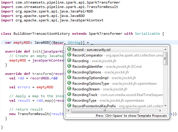 StreamSets Custom Spark Transformer in Scala - Not Working - Google