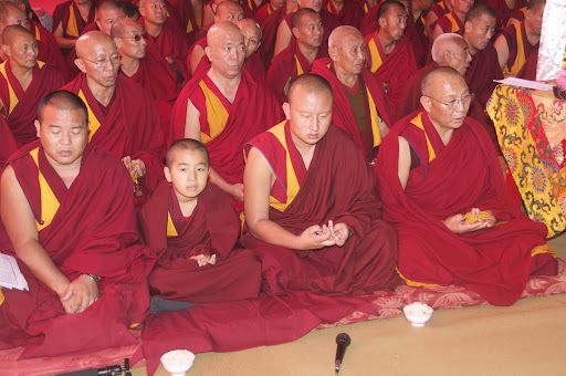 Dagri Rinpoche, Domo Rinpoche and monks at the long life puja for Lama Zopa Rinpoche, Bodh Gaya, India, January 2012.