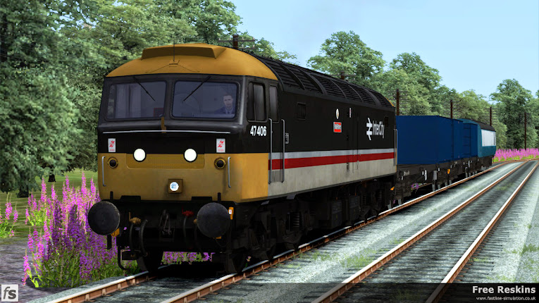 Fastline Simulation - Free Reskin: Class 47 47406 'Rail Riders' in original InterCity livery. A reskin of the European Assets class 47 for a scenario forming part of our Bullion Carriers expansion for Train Simulator.
