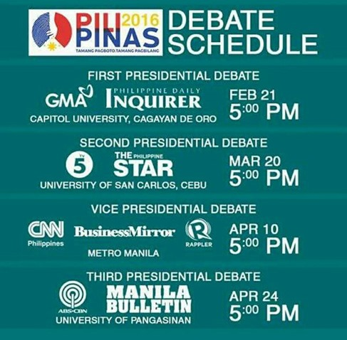 Schedule of Debates