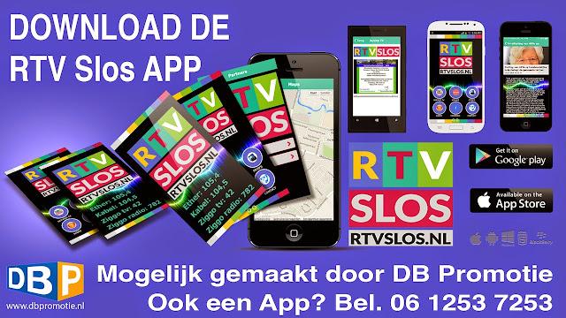 RTV Slos heeft sinds dit weekend ook een app voor de smartphone. Na de invoering van het nieuwe logo en een nieuwe frisse website is er nu ook een app gemaakt voor RTV Slos. 'We zijn erg blij met de veranderingen' zegt Ria van Hien. Zowel het logo als de website was toe aan een nieuwe en moderne uitstraling en de app was een logisch vervolg op de al ingezette veranderingen'.  Dirk Brans van DB Promotie was als vrijwilliger al betrokken bij RTV Slos en er is een samenwerking met nieuwsberichten over en weer tussen zijn nieuwssite www.indekop.nl en het radio & tv station uit Steenwijkerland.  'Omdat je in het promotionele werk zit ken je de mogelijkheden en in overleg met RTV Slos heb ik het nieuwe logo en de website gemaakt. Een app maken was voor mij ook de eerste keer en wat is er dan mooier om het op te zetten voor RTV Slos. En ik kan deze vaardigheid weer toevoegen aan DB Promotie en nu ook voor bedrijven en andere organisaties een app ontwikkelen'.  Via de app kan men naar de radio uitzendingen van RTV Slos luisteren, nieuwsberichten lezen, foto's van evenementen bekijken waarbij RTV Slos aanwezig is. De app is te downloaden via de app store en Google play.  Download de app voor Androidhttps://play.google.com/store/apps/details?id=com.rtvslos.rtvslos en IOS.https://itunes.apple.com/us/app/rtv-slos/id898313329?l=nl&ls=1&mt=8