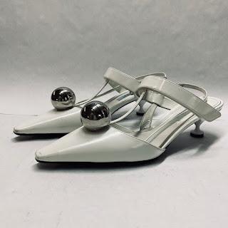 Prada White Leather Kitten Heels
