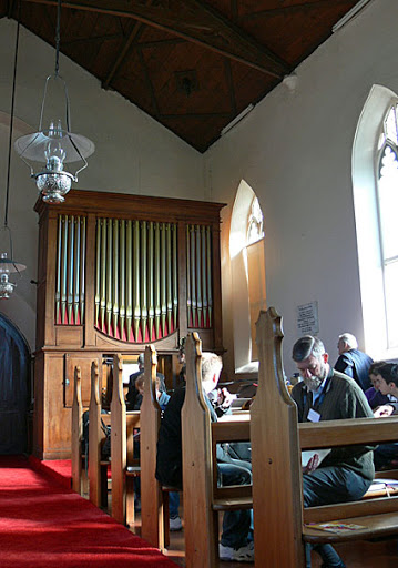 St Matthew's Anglican Church, Rokeby : organ – Dr Geoffrey Cox demonstrating the instrument [photograph by John Maidment (27 April 2011)