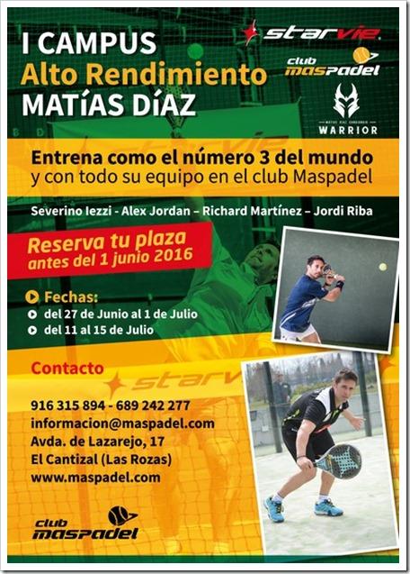 I Campus Pádel Alto Rendimiento Matías Díaz para menores. Verano 2016.