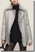 Reiss Grey Long Haired Shearling Coat - black also