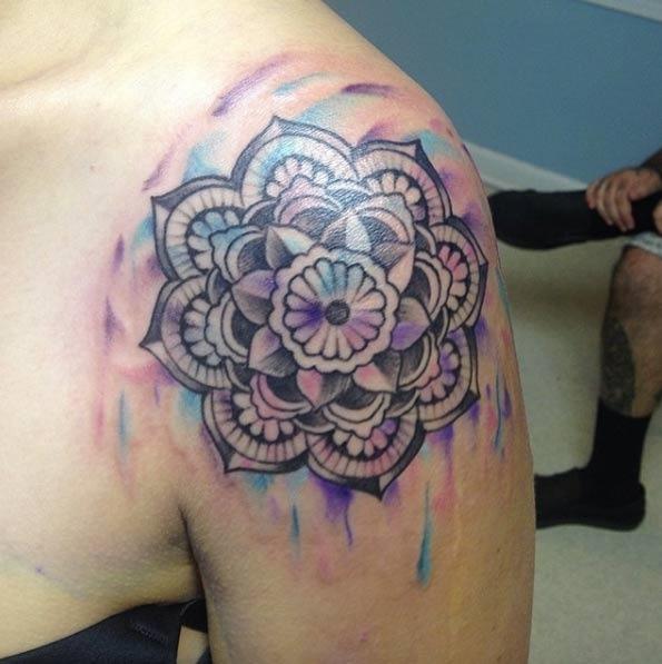 Esta aquarela do ombro peça