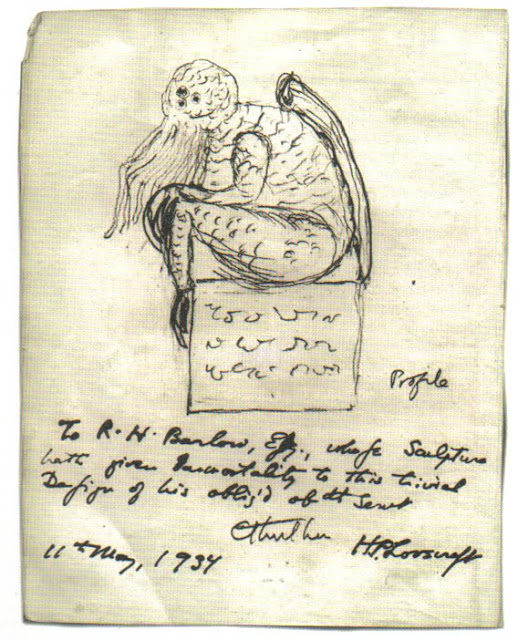 Sketch of Cthulhu with note to R.H. Barlow