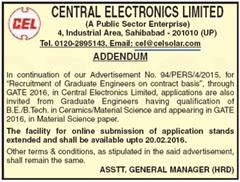 CEL GATE 2016 Addendum indgovtjobs