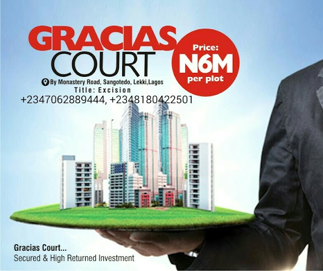 GRACIAS COURTS SCHEME 1, SANGOTEDO, AJAH, LAGOS (LAND FOR SALE)
