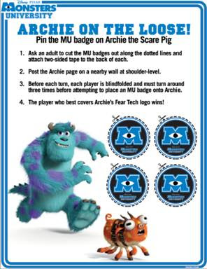 "Disney/Pixar Monsters University ""Archie on the Loose"" Game"