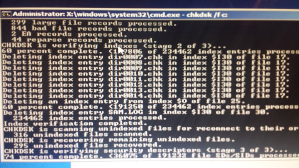 Windows  Home Premium Chkdsk Stage