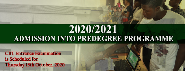 ADMISSION INTO PRE-DEGREE PROGRAMME FOR 2020/2021 ACADEMIC SESSION