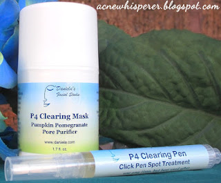 Beat stubborn hormonal Adult Acne breakouts with sugar beet, pumpkin, pomegranate and tea tree!  Once or twice weekly mask, and portable pen spot treatment.  From Daniela's Facial Studio, home of the AcneWhisperer Blog.