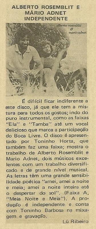 Alberto Rosemblit e Mário Adnet - Disco novo - Lú Ribeiro - Música 1980-09