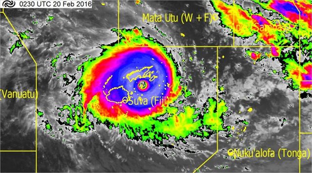 Infrared satellite image (indicating cold cloud top temperatures) showing the location of Tropical Cyclone Winston at 3.30pm Saturday, 20 February 2016. Note the circle in centre of the TC showing an exceptionally clear 'eye' of the TC. Graphic: JMA / MetService