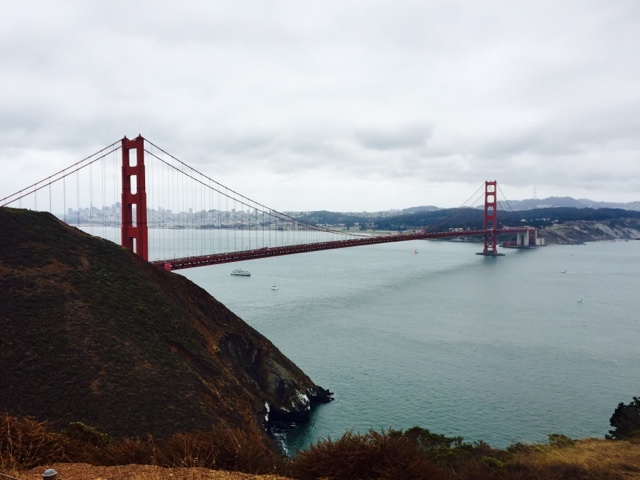 The Golden Gate Bridge in San Francisco seen from Marin Headlands