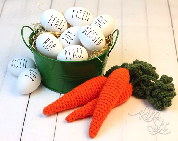 Rae Dunn Eggs and Crocheted Carrots