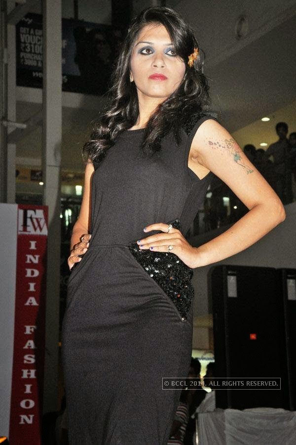 Binshu during a fashion show, held at a city mall in Raipur.