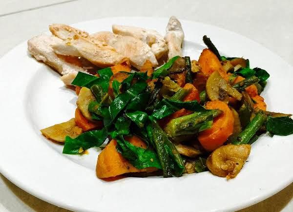 Sweet Potato With Mushrooms, Green Beans Recipe