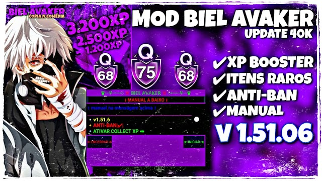 SAIUU!!! NEW MOD MENU BIEL AVAKER 1.51.06  XP BOSTER+ ITENS RAROS+ ANTI BAN   MOD AVAKIN 2021
