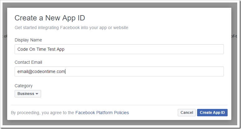 Creating a new app in the Facebook Developers website.