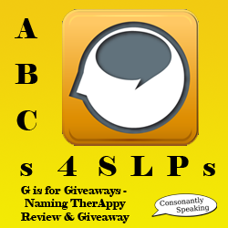 ABCs 4 SLPs: G is for Giveaways - Naming TherAppy Review and Giveaway image