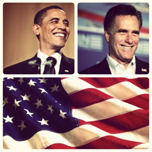election day instagram of president barack obama, mitt romney, and the glorious american flag