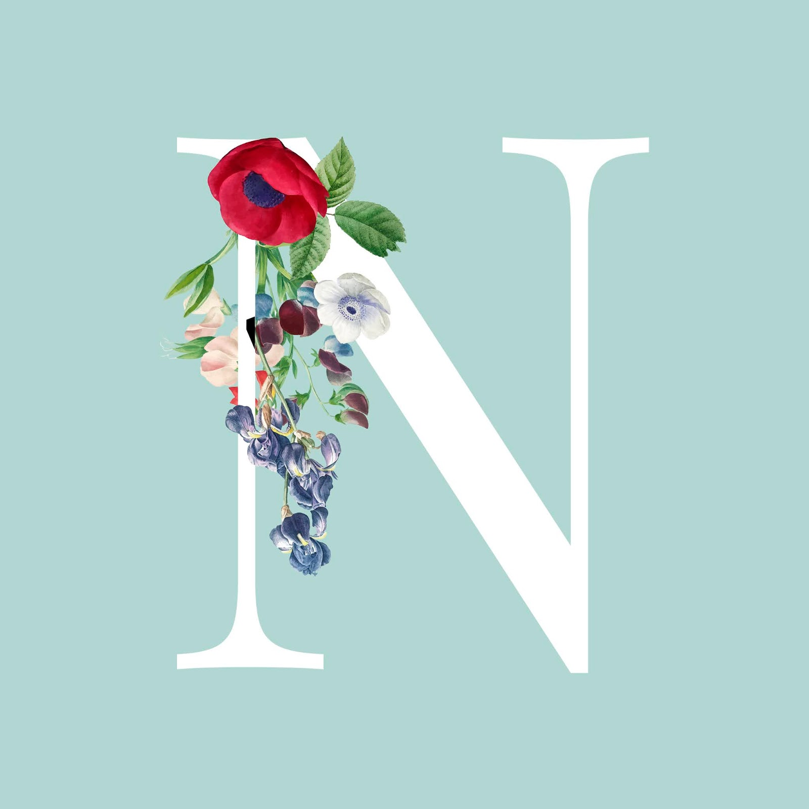 Floral Capital Letter N Alphabet Vector Free Download Vector CDR, AI, EPS and PNG Formats