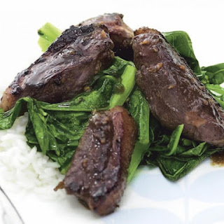Crispy Duck Breast with Chinese Broccoli.