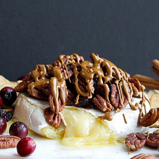 Caramel, Pecan and Cranberry Baked Brie