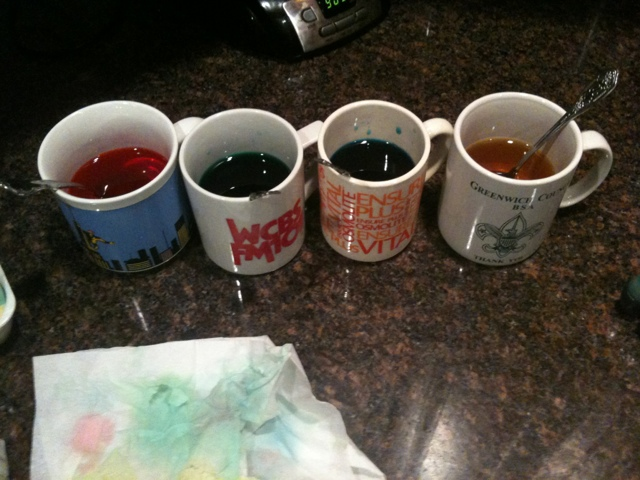 Egg Dye in Mugs