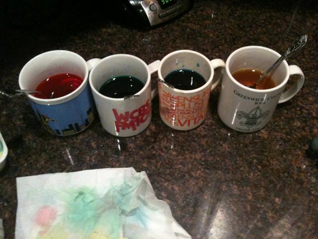 Egg Dye in Mugs