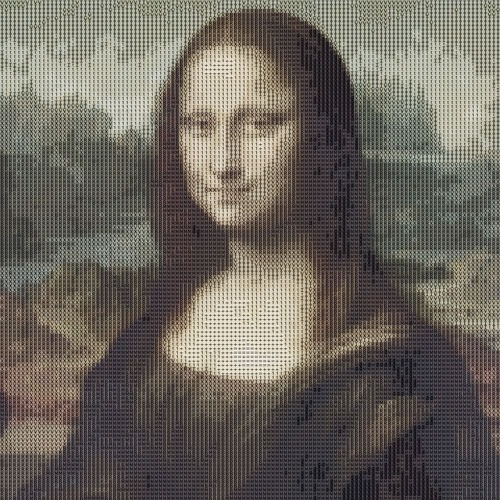 Mona Lisa en ASCII Art, hecho con la acción en color
