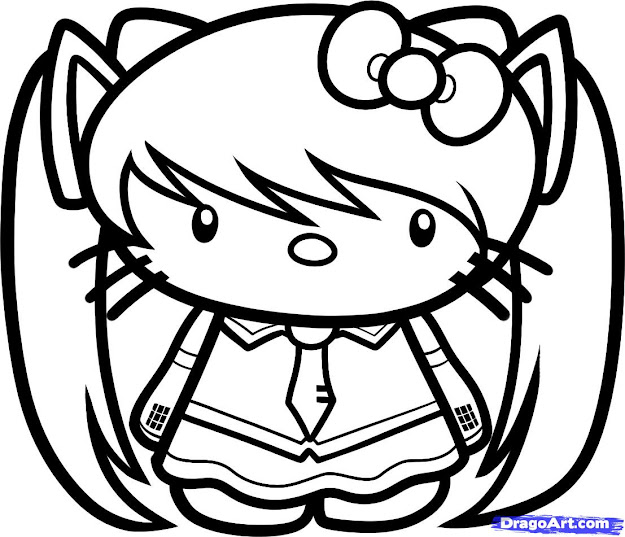 Nerdy Hello Kitty Coloring Pages Emo Hello Kitty Character