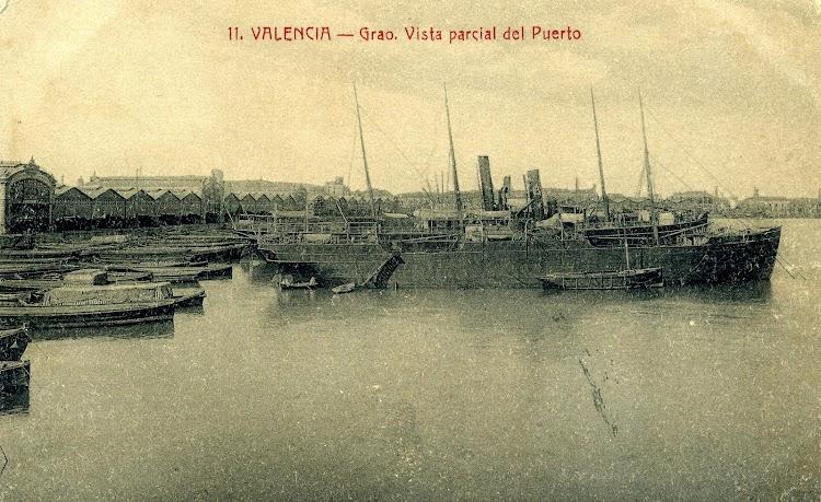 Vapor A. COLA. Puerto de Valencia. Vapor A. COLA. Postal.JPG