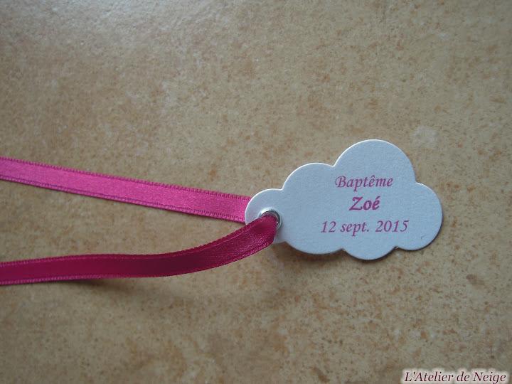 182 - Etiquettes à dragées Baptême  Zoé 12 sept. 2015
