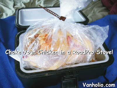 Cooking a whole chicken in an oven bag within a RoadPro 12 volt Stove
