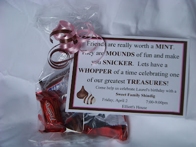 Make a yummy candy invitation to your next party using mints, mounds, snickers, whoppers, and treasure candies. You're guests will be excited and thrilled to RSVP immediately (after they enjoy the chocolate!)