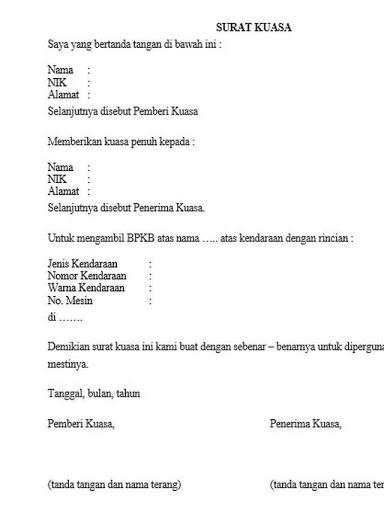 Contoh Surat Kuasa Pengambilan Dokumen